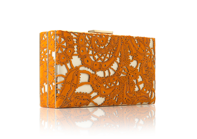 Rectangular Metal Box Hair Calf Marmellata