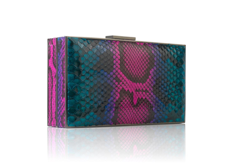 Peacock Python rectangular handbag