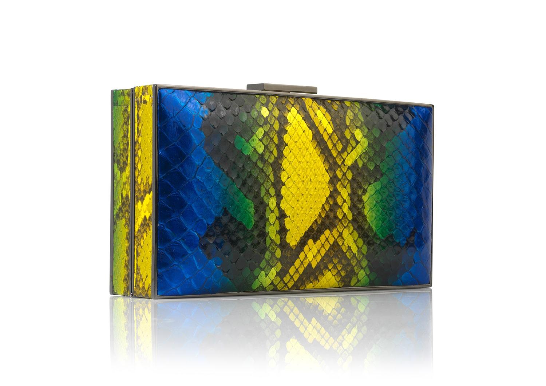 Cobalt Shimmer Python rectangular handbag