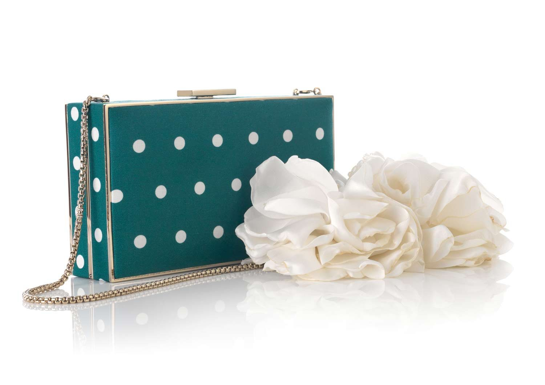 RECTANGULAR METAL BOX FABRIC & FLOWER HANDLE