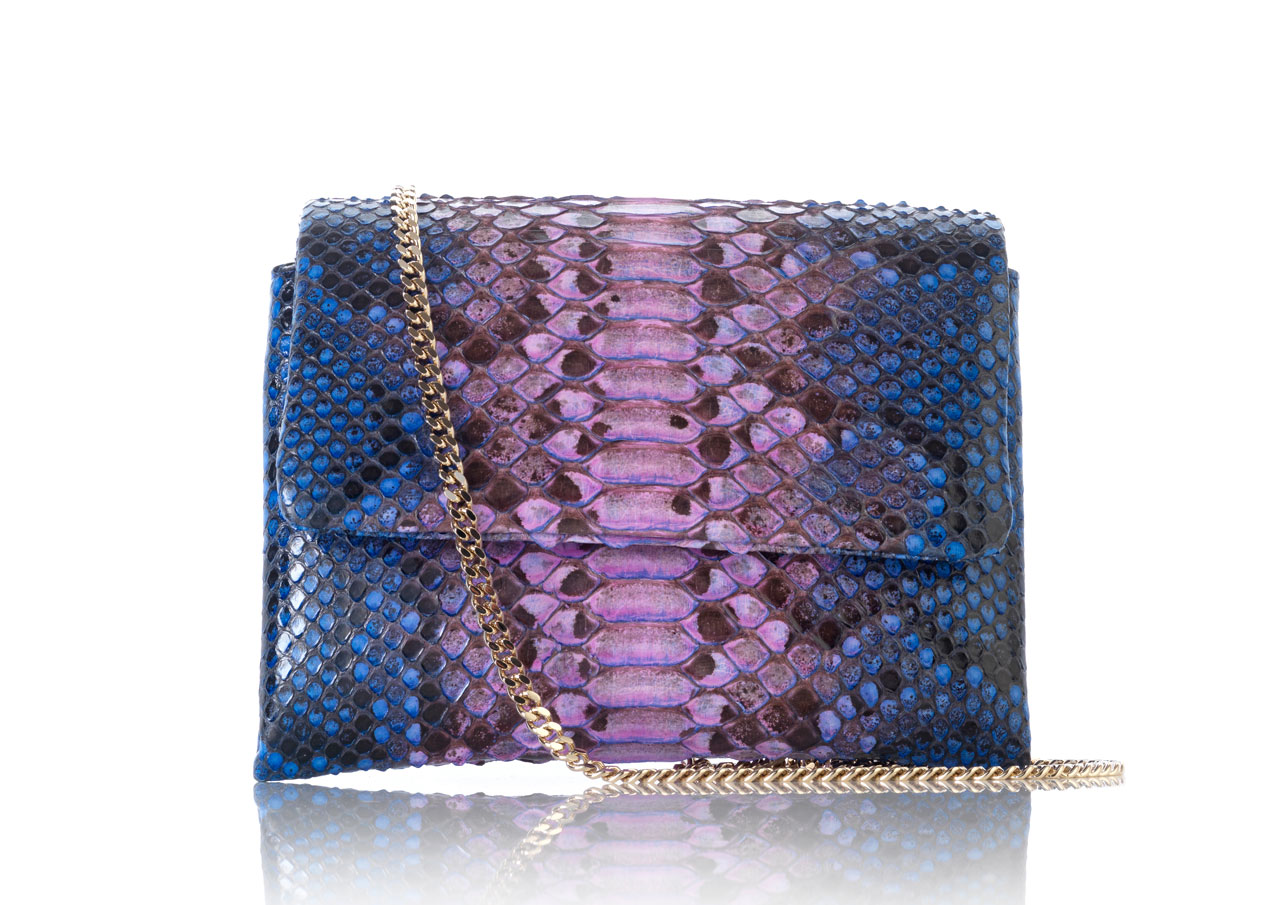 PYTHON FLAP BAG WITH CHAIN
